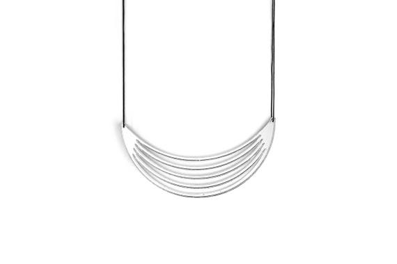 Necklace Mutation 01 - moon - silver mirror - statement jewellery - contemporary jewelry - designer accessory - lasercutting - acrylic