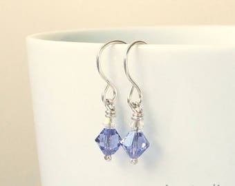 Swarovski Crystal Tanzanite  Earrings, Dainty Lilac Earrings, Gift under 20