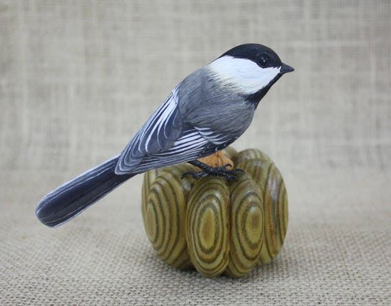 Chickadee Bird on Gourd Hand Carved Wood Carving By Mike Berlin