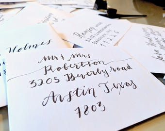 Envelope calligraphy, hand lettering, envelope addressing, addressing and mailing envelopes, stamps