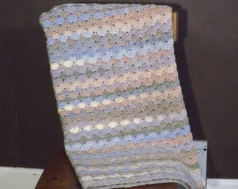 Pastel Lapghan, Pink and Blue Wheelchair Blanket, Crochet Throw, Small Afghan