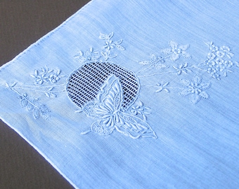 Vintage Embroidery Butterfly & Flowers Hanky