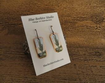 Vintage postcard art, landscape, postcard jewerly, reproduced postcard, saguaro cactus, cactus earrings, cactus jewelry (EBX2010)