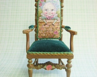 Hand-Painted Tapestry Humpty Chair - Antique style Mother Goose Nursery Furniture -Jill Dianne Dollhouse Miniature