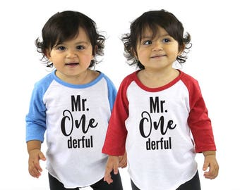 Mr. Onederful Tri-blend Raglan Baseball Shirt - First Birthday Shirt