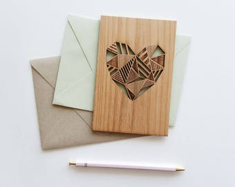 Geometric Heart Wood Love Card [5th, Fifth, Five Year Anniversary / Valentine / Girlfriend or Boyfriend / Personalized Anniversary]