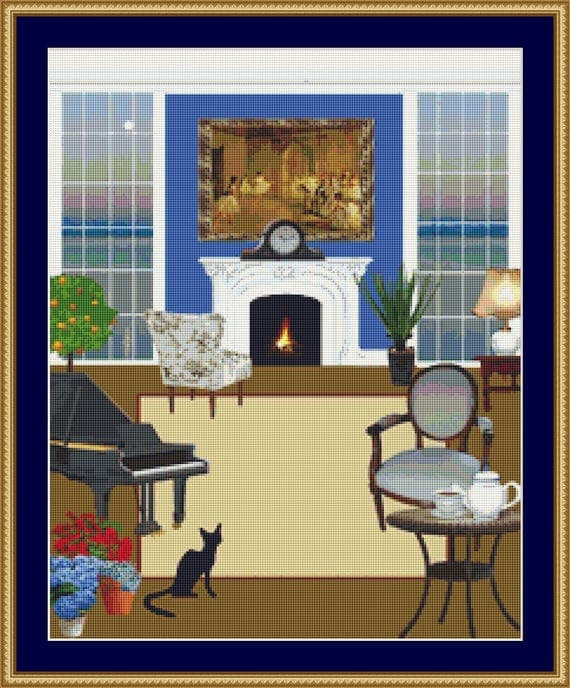Cat In The Lounge Cross Stitch Pattern /Digital PDF Files /Instant downloadable