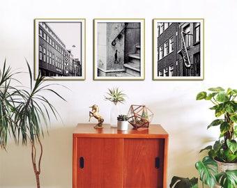 set of 3 black and white wall art city print set city wall art