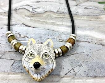 Mens Wolf Necklace, Wolf Jewelry, Gray Wolf Pendant Necklace, Animal Necklace, Animal Jewelry, Silver Wolf Spirit Animal, Mens Wolf Charm