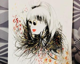 Fashion Illustration watercolour Woman with Sunglasses