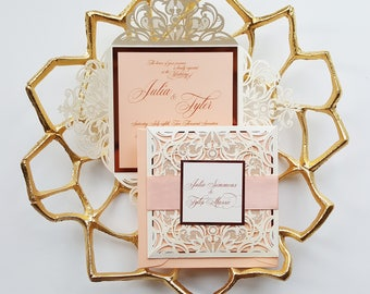 Spring wedding invitation, elegant wedding invite laser cut, laser cut wedding invitation sample {Belladonna}