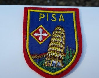 Vintage Pisa Italy Embroidered Travel Patch