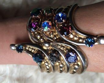"Golden chic elven cuff and swarovski crystals colored ""Solstice"""
