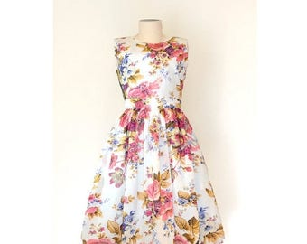 JULY 20 OFF Floral Cotton Dress, White Floral Dress, Made to Order Dress, Fit and Flare dress, 50's dress