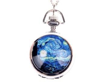Necklace Pocket watch van gogh starry nigh 2222m