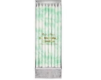 Mint Green Marble Tall Birthday Cake Candles- 24 ct | skinny birthday candles | tall birthday candles | Meri Meri