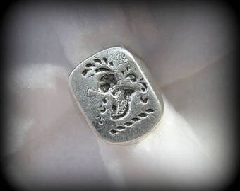Vintage SIGNET/WAX SEAL Sterling Silver Ring -- Knight's Helmet with Plume, 16.7g, Size 6-1/2, One-of-a-kind!