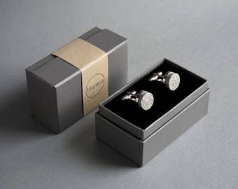 Personalised 1st Anniversary Gift for Husband, Paper Cufflinks with Custom Engraving