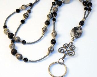 Beaded Id Lanyard, Badge Lanyard, Black Silk Id Badge Holder, Id Necklace, Eyeglass Holder, LY11204