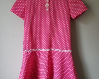 Vintage 60s Girls Pink Polka Dot Dress with Dropped waist and Daisies- Size  7/8- Gently Worn- Easter Dress- Daphne Costume