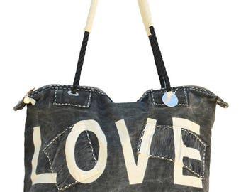Ali Lamu Medium Weekend Bag Black Love Natural