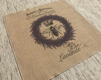 Lavender Bee Burlap Panel French Printed Fabric