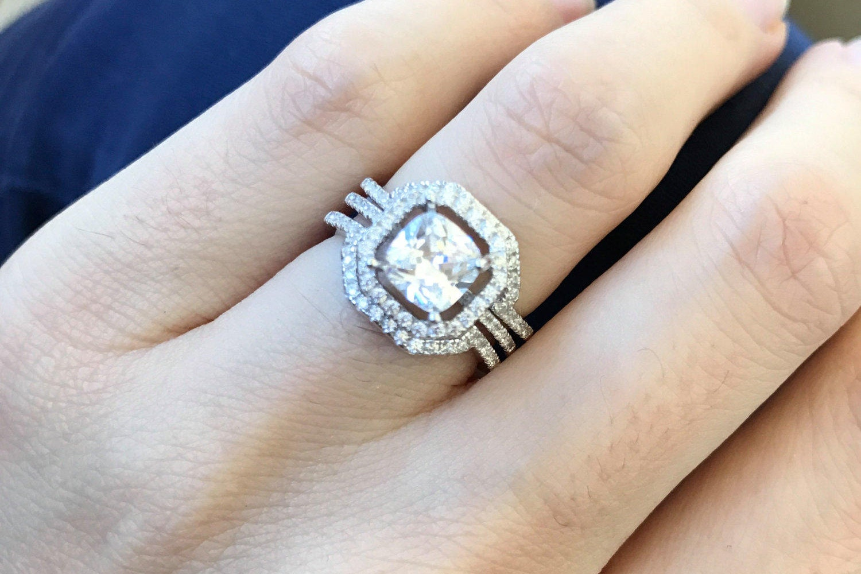 Cushion Cut Bridal Set Bridal Engagement Ring Set Alternative