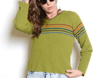 Vintage 90's Grunge Rainbow Striped Sweater Sz S