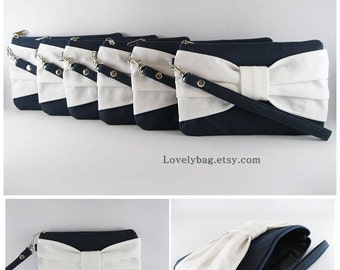 SUPER SALE - Set of 5 Navy with Ivory Bow Clutches - Personalized Monogram Zipper Pull, Bridal Clutches, Wedding Gift - Made To Order
