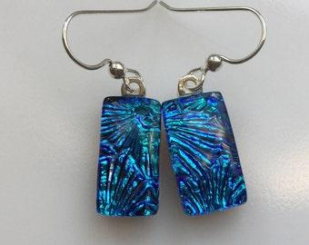 Dichroic Glass Earrings, Fused Glass Jewelry, Blue Starburst Earrings