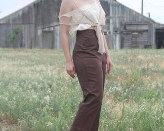 LEVIS  1950's ranch pants, high waisted, chocolate brown gabardine pants with side zip, MED