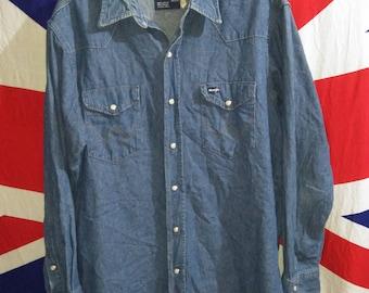 Vintage Wrangler Chambray Westerns Denim Cowboys Pearl snap Button Shirt