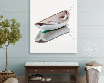 Rowboat Photography, Boat Canvas Gallery Wrap. Large Vertical Canvas, Classy Nautical Decor, Colonial New England Harbor Photo, Coastal Art