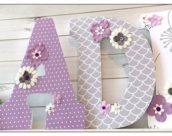 Dandelion Nursery. Lilac and Grey Nursery. Dandelion. Mint. Wood Letters. Purple. Gray. Wood Letters. Flowers. Floral.Nursery. Baby Girl.