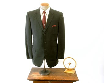 1950s Black 3 Button Mens Suit Jacket Mad Men Era Mod Vintage Sport Coat / Blazer by Fellow Fashions - Size 42 (LARGE)