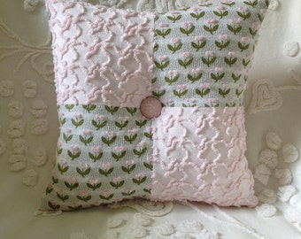 """NEW...Pillow Vintage Chenille Flowers in Pink  12 x 12"""""""
