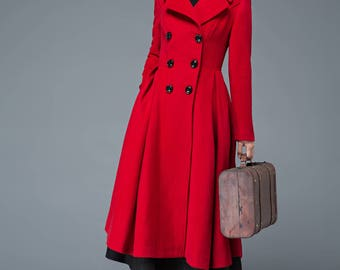 Long red coat outerwear
