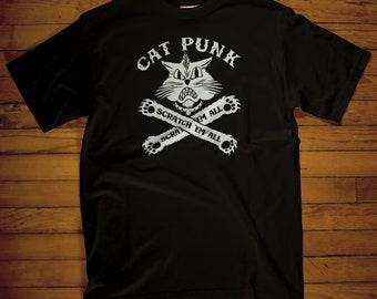 Mens Cat Punk T-shirt, cat lover, funny, retro, nerdy, punk rock, gifts for him, black