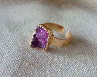 pink  Agate Druzy Drusy Golden Mineral Ring Raw Gemstone Rough Statement Adjustable Ring 744