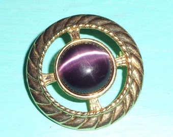 Signed ALI Gold Circle with Purple Glass Brooch**