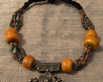 Vintage Moroccan Berber Cross and Tribal Beads|Ethnic|Boho