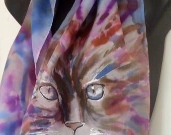 CAT FACE, New Zealand, Hand Painted Silk scarf, Animal lover, Blue Eyed feline, Meow, Tabby, cheeky puss, Blue, cerise,  brown,150cm x 28cm