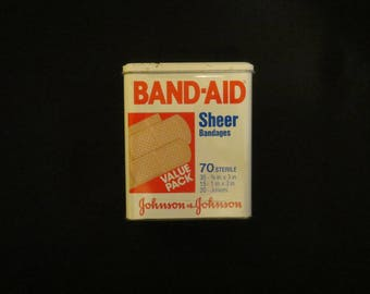 Band-Aid Sheer Bandages Metal Tin, Johnson & Johnson, Bandaid Box 1980's EMPTY TIN