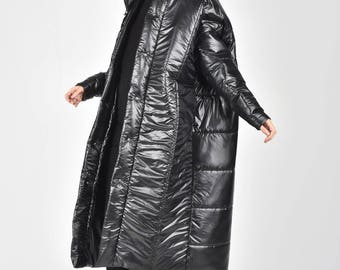 NEW Oversized Black Winter Coat / Maxi Black Quilted Hooded Extravagant Coat by AAKASHA A90145