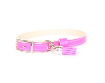 Cat or Small Dog Collar // Hot Pink // Optional ID Tag