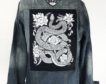 Original Hand carved Block Print sew-on back patch by MoonGoddessMarket®