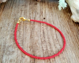 red anklet for beach surfing vacation seed bead jewellery