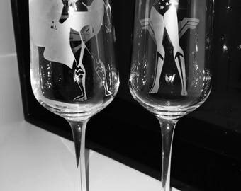 Superman and Wonder Woman Etched Glasses