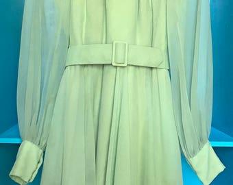 VTG 70s Mollie Parnis Boutique New York Pastel Green Belted Sheer Dress 1970s Vintage