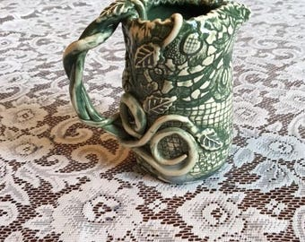 Handmade Ceramic Creamer With A Forest Green Lace Design